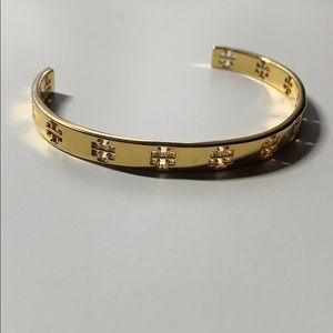 Tory Burch Pierced T Cuff Bracelet, Tory Gold